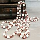 Vintage Art Deco Ruby Red Milk Glass Flapper Necklace Candy Cane 60 Long