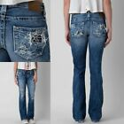 Womens Big Star Vintage Jeans Low Rise Liv Blowout Ripped Bootcut Jeans 25R 27R