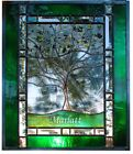 Stained Glass Window Panel Personalized FAMILY Tree Love heart Wedding