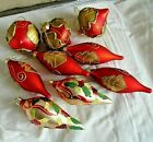 Hand Decorated 9 Red  Gold Glass Christmas Ornaments MINT  BEAUTIFUL