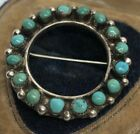 Vintage Sterling Silver Brooch Pin 925 Native American Circle Turquoise
