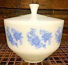Vintage FEDERAL Milk Glass Casserole Dish Bowl w lid Blue Flowers MCM Atomic