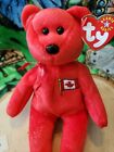 Ty Pierre Canada Maple Flag Dob May 4 2001 Excellent Red Beanie Baby bear 2 Tush