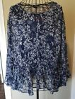 NWT Womens LUCKY BRAND Blue Floral L S Peasant Pullover Blouse Sz 3X 90