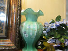 BEAUTIFUL FENTON WILLOW GREEN VASE W FLOWERS HAND PAINTED  SIGNED 9 1 2 TALL