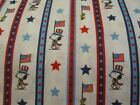 White Snoopy Stripe Patriotic Fourth Of July Cotton Fabric BTY