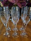 Tall crystal champagne flutes cut  etched set of 6