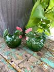 Vintage Japan Roosters Chicken Salt and Pepper Shakers Green and Pink