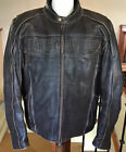 HARLEY DAVIDSON Mens Size 2XL Black Distressed Leather Jacket in VG Condition