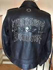 HARLEY DAVIDSON Mens LARGE Heavyweight Black Leather Jacket in Great Condition