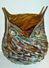 MCM Murano Art Glass Owl Vase Brown Turquoise Swirled Bubbled Spectacular