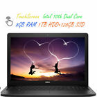 2020 Newest Dell 156 Touchscreen Laptop Dual Core CPU 8GB RAM 1TB HDD Win 10