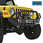 EAG Front Bumper Black Textured with Winch Plate Fit 87 06 Jeep Wrangler TJ YJ