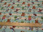 White Blue Stripe Muppet Baby Character Cotton Fabric BTY