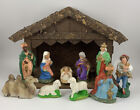 Vintage W Germany Christmas Nativity Manger Set 10 Figurines