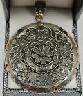 Beautifully Crafted Sterling Silver 925 Intricate Flower Designed Pendant 1814g