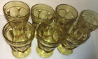 Lot Of 7 Vintage Fosteria Amber Thumb Print Footed Glasses