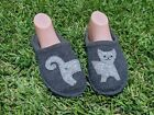 HAFLINGER 315009 WOMENS LIZZY CAT WOOL SLIPPERS GREY Size 41 EU 10 US