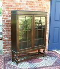 Antique English Oak Jacobean 2 Glass Door Bookcase Display Cabinet