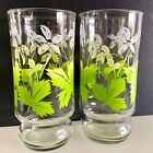 """"""" Tall Drinking Glasses Flower Floral 12oz"""