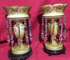 RARE Pair of Yellow Antique Victorian Cased Glass Mantle Lustres Lusters C1890