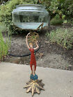 Vintage Style Fish Bowl Stand Lady Liberty Art Deco Nice