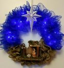Large Lighted Christmas Nativity Wreath HANDMADE Jesus Christian Stable Manger