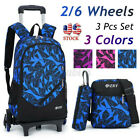 US 3PCS Wheels Removable Kids Children School Trolley Backpack Bag Boys Rucksack