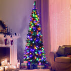 65ft Pre Lit Hinged Artificial Pencil Christmas Tree with 250 Multicolor