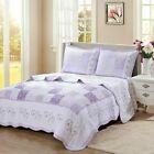 Love of Lilac Real Patchwork 100Cotton Quilt Set Bedspread Coverlet
