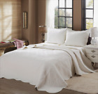 Mael Ivory Scalloped Edge Reversible Cotton Quilt Set Bedspreads Coverlet