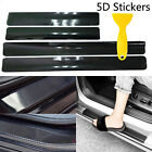 4Pcs Carbon Fiber Car Door Sill Scuff Door Pedal Protect 5D Black Stickers