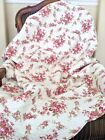Fuchsia Red Rose Cream Floral Printed Reversible Cotton Quilted Throw