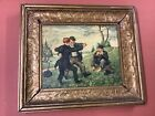 Antique Oil Painting Men Dancing Signed Birth