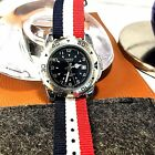 CASIO Divers Watch: Silvertone/ Movable Bezel/Red,White&Blue Band Watch MTP-3004