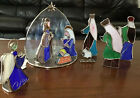 Vintage 10pc Handcrafted Stained Glass Nativity Set Stable  9 Figures PRISTINE