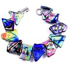 DICHROIC Glass Link Bracelet Multicolor Metallic Abstract Layered Tie Dye Shards