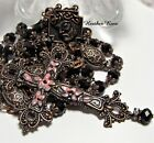 NEW HANDMADE COPPER ROSARY HANDPAINTED FLORAL STATEMENT CROSS PINK BLACK GLASS