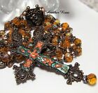 HANDMADE COPPER ROSARY HANDPAINTED FLORAL STATEMENT CROSS BRIGHT ORANGE GLASS