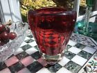 VINTAGE Whitefriars G BAXTER Sommerso ruby CRANBERRY red MOLAR vase 5 1 2