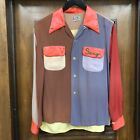 VINTAGE 1940S END OF THE DAY COLOR BLOCK KRAZY RAYON ROCKABILLY SHIRT M