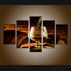 5Panels Canvas Prints Painting Wine Glass Pictures Home Decor Western Art