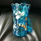 Beautiful Enameled Blue Glass Vase