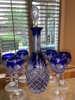 REXXFORD BOHEMIAN BLUE CASED CUT TO CLEAR CRYSTAL 15 1 2  DECANTER  6 GOBLETS