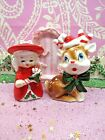 Vtg Christmas Angel Bell W Candy Cane  Reindeer W Santa Hat Candy Cane Antlers