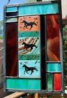 Stained Glass Window Panel pony southwest Indian horse turquoise rust black