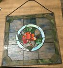 A ROSE STAINED GLASS WINDOW PANEL HANGING SUN CATCHER 16X 16