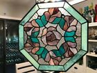 ROSE OCTAGON PURPLEPINK AND GREEN STAINED GLASS SUN CATCHER