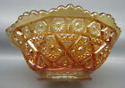 Imperial DIAMOND LACE Marigold Carnival Glass Round 4 Berry Bowl 7282