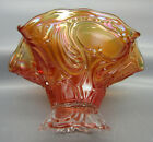 Imperial ROCOCO Marigold Carnival Glass Ruffled Footed Hat Vase 7014